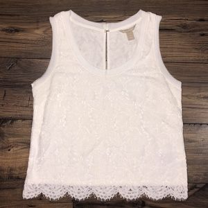 Banana Republic White Embroidered Top Size M Petit